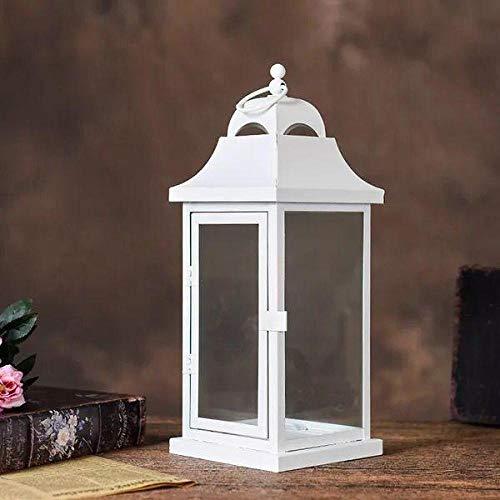 YXSHHHL Eisen Kunst Licht Kerzenhalter dekorative Gartendekoration Handwerk Glas Laterne (Reproduktion) @Weiß groß 18 * 18 * 47 (Laterne Dekorative Kerzenhalter)