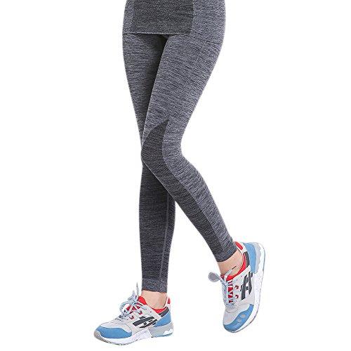 ESHOO Femmes Pantalon de yoga Élastique Legging Gym Fitness Sport Athlétique long Pants Gris