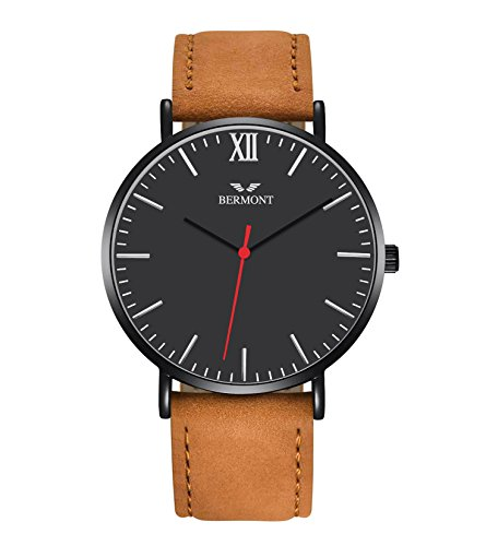 - 41QWo 2B3PG3L - BERMONT Rouge Edition Men's Leather Suade Brown Band Analogue Quartz Wrist Watch Mens Luxury Classic Simple Casual Design Black Dial Business Fashion Wristwatch Scratch Resistant Dress Watches for Men