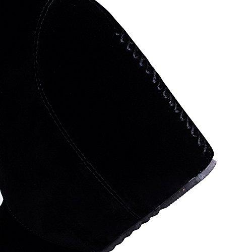 VogueZone009 Femme Rond Couleur Unie Haut Bas à Talon Haut Bottes Noir