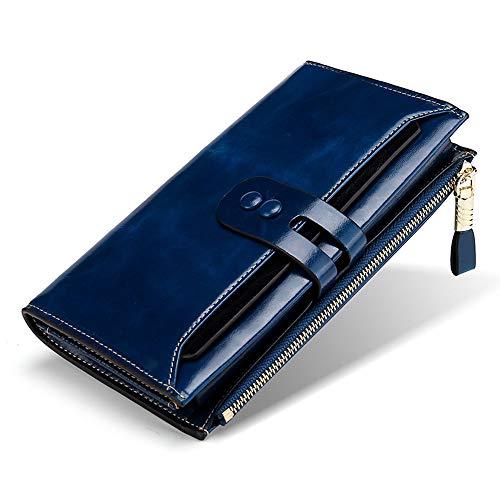 BaiGe Damen Geldbörse mit RFID-blockierender Geldbörse mit großer Kapazität, echtes Leder, Geldbörse mit Reißverschlusstasche Blau blau M