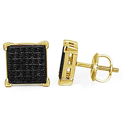 lilu Jewels Girl Fashion populaire Jewelry coupe ronde Diamant Noir Argent 925Boucles d'oreilles clous en argent sterling 925Véritable 14k Gold Plated
