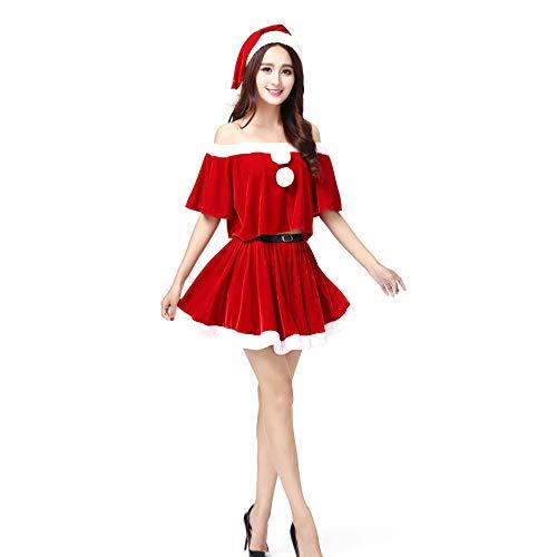 Santa Anzug Erwachsene Cosplay Sexy Red Fun Bühnenkostüm Luxus Plüsch Party Erotische Kleidung Kostüm Outfits Für Weihnachten/Karneval Halloween Kostüme,Red,OneSize