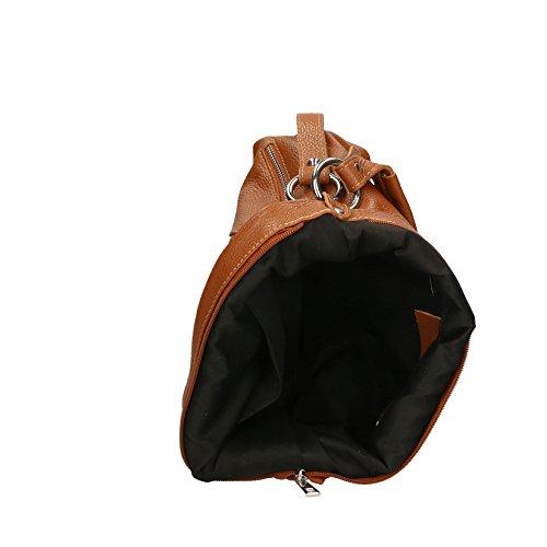 Chicca Borse Clutch Borsetta Borsa a Spalla da Donna con Tracolla in Vera Pelle Made in Italy - 23x14x8 Cm Cuoio