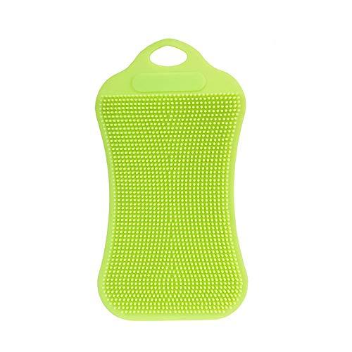 Berrose -1 Stück Silikon Geschirrspülmittel Schwamm Wäsche Küchenreinigung Antibakterielles Werkzeug-Silikon-Reinigungsbürste Fruchtpinsel -Multipurpose Dish-Washing Mehltau frei antimikrobiell - Deckel Bun Mädchen