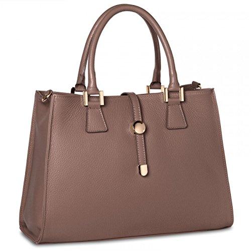 CASPAR TL667 Sac à main en cuir classique pour femme - sac business très élégant - FABRIQUÉ EN ITALIE - plusieurs coloris kaki