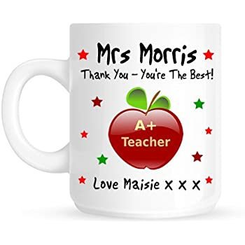 Maisie Moo Gifts Limited Personalised Thank You Teacher Apple Wooden Coaster Gift