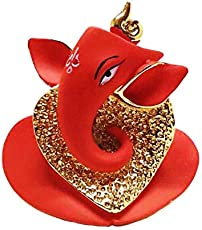 Chintamani Arts Gold Plated Terracotta Divine Ganesh Idols /Car Dashboard Idol (Gold)