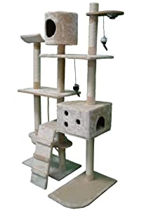 Deluxe Multi Level Cat Scratcher Cat Tree Activity Centre Scratching Post with 2 Caves and Toys and Sleeping Area 2299 Beige Faux Fur 106cm x 60cm x 170cm Height from KMS