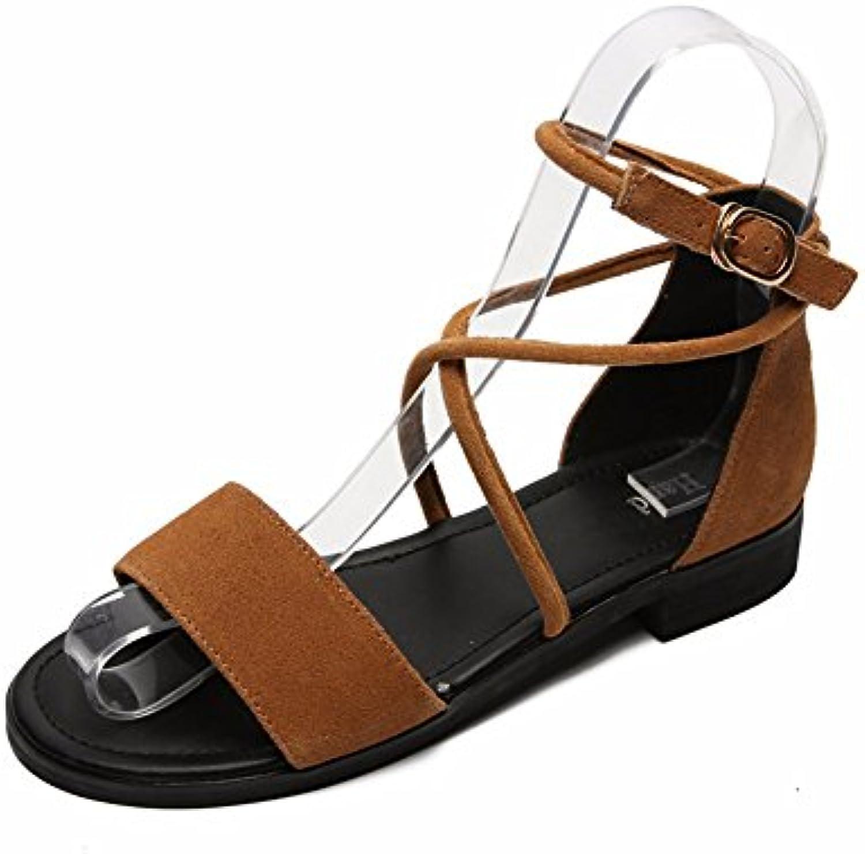 YMFIE Semplice moda estate Signore' fondo piatto bretelle bretelle bretelle incrociate e toe toe sandali,35 UE,b | New Style  | Uomini/Donne Scarpa  6d5f83