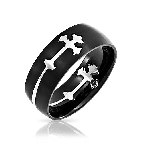 Bling Jewelry Fleur de Lis de acero negro corte transversal Mens Anillo Puzzle