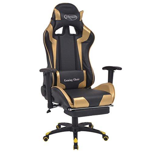 vidaXL Bürostuhl Neigbar mit Fußstütze Gold Gaming Stuhl Chefsessel Drehstuhl
