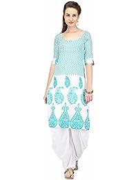 Pret A Porter Green/White Printed Kurti With Salwar