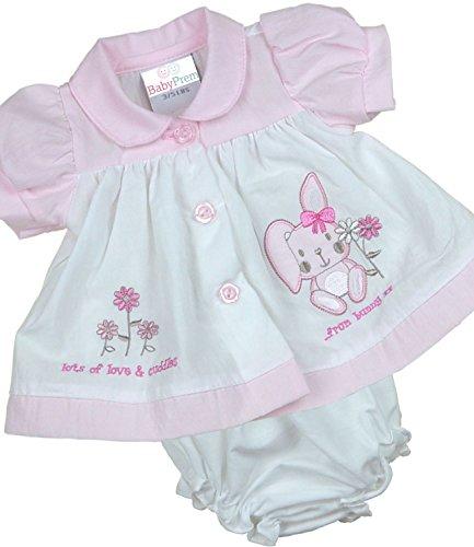 BabyPrem Frühchen Kleidchen & Höschen Set Mädchen Babykleidung Hase 44-50cm WEISS