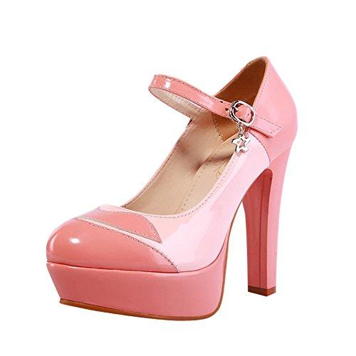 Mee Sapatos Senhoras Multicolorido Planalto Estropo Tornozelo Salto Alto Bombas Rosa
