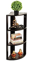 Bluewud Alba Floor Standing Corner Wall Rack / Display Shelf (Wenge, 4 Shelves) S-AB-W4