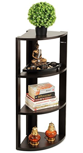 Bluewud Alba Floor Standing Corner Wall Rack / Display Shelf (Wenge, 4 Shelves) S-AB-W4  available at amazon for Rs.2199