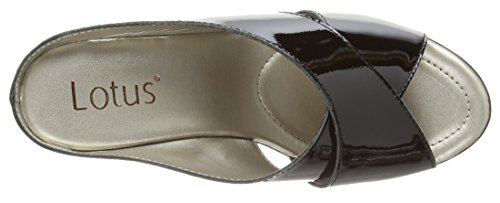 Lotus Trino, Mules Femme Noir (Black Patent Leather)