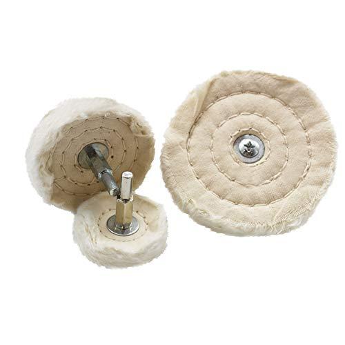 HYCC algodón Polishing Mop 50-Ply cosido grueso de algodón pulido rueda para polidores Taladros de 1/4'(6mm) Hex Arbol eje (3 tamaños)