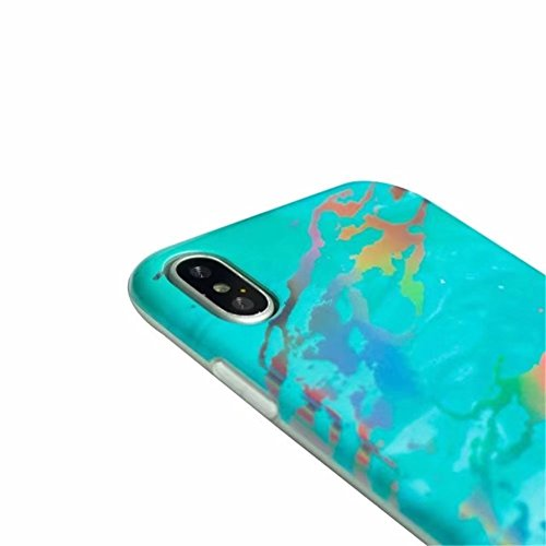 iPhone 6 Plus Case, Laser Bling Soundmae Personalized Marble Design [Glossy Soft Touch Feeling Case] Shiny Color Changed Sparkling Back Cover for iPhone 6 Plus 5.5, Gary Green&Blue
