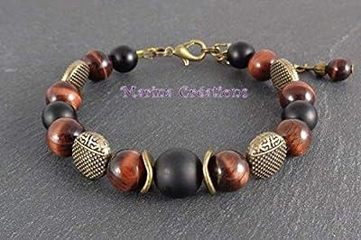 Bracelet bronze bohême chic oeil de taureau et onyx dépoli, tons bordeaux et noir, idée cadeau, BRB017