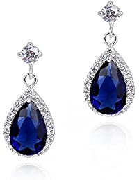7e2c91fd3d78 Lágrimas Pendientes con Zafiro simulado azul Cristales austríacos de  Zirconia 18k Chapado en oro blanco para