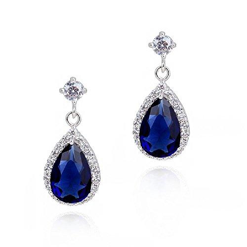 Cartella di orecchini con cristalli Swarovski e con 18CT Oro Bianco Placcato-con koeniglich zaffiro pietre blu