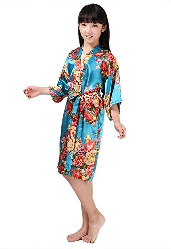 Joyplay Kinder Mädchen Kimono Robe Satin Seide Bademantel Nachtwäsche für Kinder Brautkleid Kleid Morgenmantel Kimono Negligee kurz aus Satin mit Peacock und Blumen Bademantel Hellblau