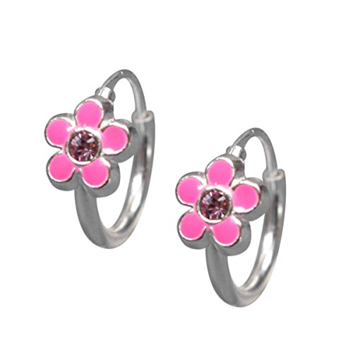 sl-collection-kinderohrringe-creolen-rosa-blume-lackiert-kristall-rose-925-silber
