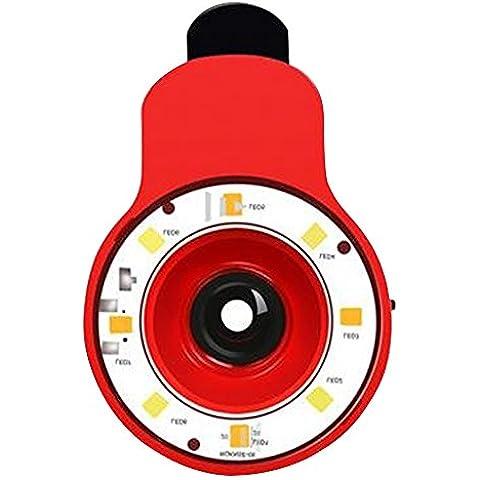 Generic 9 in 1 Multifunzione Professionale Portatile Clip-on LED Selfie Flash Fill Light Speedlite Spotlight Flash Luce lampada per iPhone, Samsung, iPad e altro Smartphone con USB Cable - Rosso