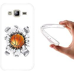 Funda Samsung Galaxy J3 - J3 2016, WoowCase [ Samsung Galaxy J3 - J3 2016 ] Funda Silicona Gel Flexible Balon de Baloncesto, Carcasa Case TPU Silicona