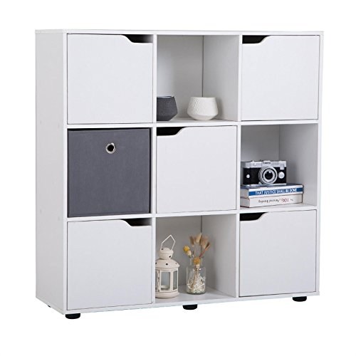 CARO-Möbel Bücherregal Vermont Regal Raumteiler 9 Fächer, Davon 5 mit Türen in Weiß (Bücherregal 5-regal Bücherschrank)