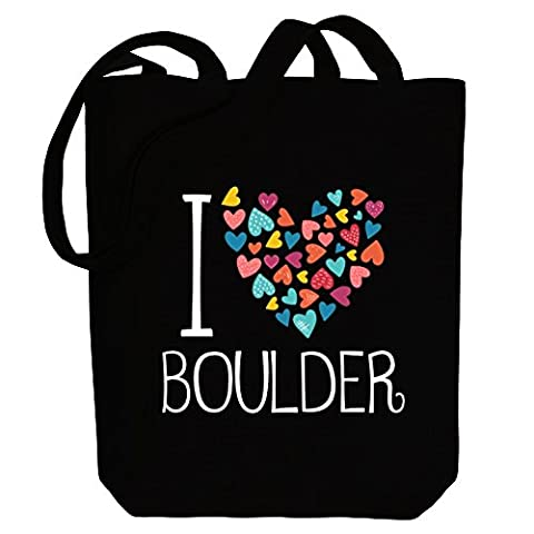 Idakoos - I love Boulder colorful hearts - US Cities - Canvas Tote Bag