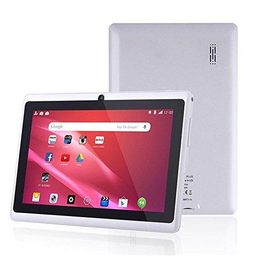 Coloré(TM) 7 Pouces Tablettes PC, Google Android 4.4 Tablet, Écran Capacitif HD 1080x720P, Quad Core 1Go+8Go, Double Caméras 0.3M Pixel, 2000mAh, WiFi (Blanc)