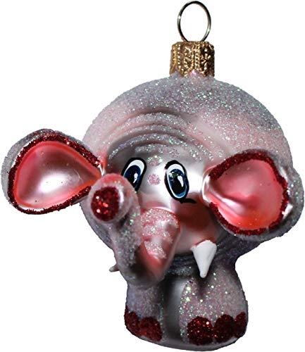 Christbaumschmuck Weihnachtskugeln rosa Elefant Ottilie Glas mundgeblasen handbemalt
