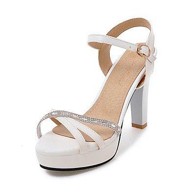 Sandales Printemps Été Automne Chaussures Club Bureau PU & partie de carrière & tenue de soirée Talon Noir Rose Boucle d'Amande blanche White
