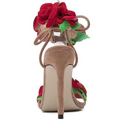 Oasap Damen Offen Blumen Stiletto Schnürsenkel Sandalen Apricot