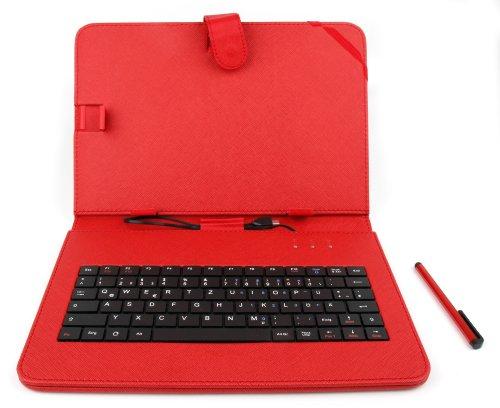 DuraGadget rote Tasche aus Kunstleder mit deutscher QWERTZ Tastaturbelegung für