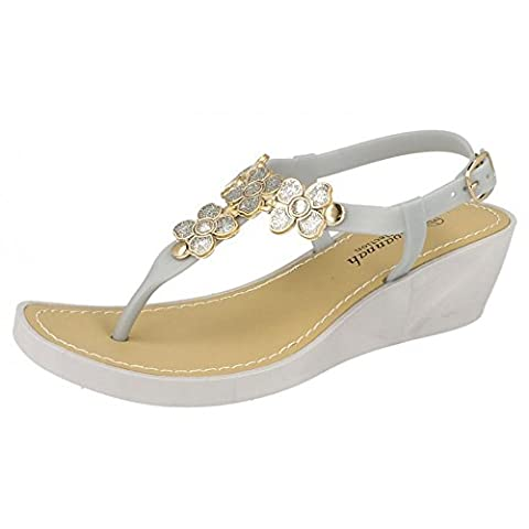 Ladies Savannah Glitter Flower Detail Wedge Toe Post Sandals -