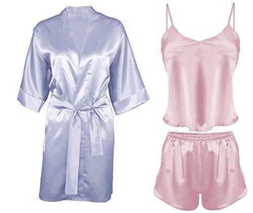 DKaren-Nachtwäsche Damen Wäsche-Set aus Satin Karen / Morgenmantel aus Satin 90 (XS-2XL) Hellblau/Rosa
