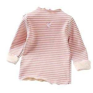 catmoew Kleidung Baby (18M-5J) Babybekleidung Lange Ärmel Hoher Kragen Streifen Mädchen Kleidung Liebe drucken Rüsche Holzohr Plüsch Junge Kleidung Verdicken Warm halten Shirt Top