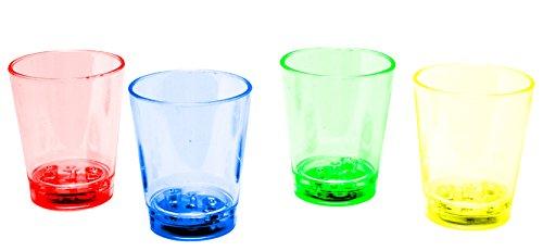 LED-Highlights Glas Becher Schnapsglas 60 ml 4 er Set gemischt LED rot blau grün gelb bunt Bar Kunststoff Trinkglas mit Batterie