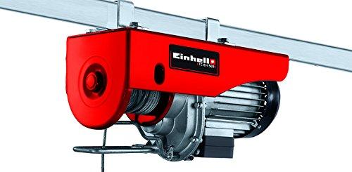 Einhell Seilhebezug TC-EH 500 (1.000 W, Not-Ausschalter, automatischer Bremse und Endabschaltung, inkl. 12 m drallfreiem Drahtseil, Umlenkrolle mit Lasthaken und Sicherheitsbügel)