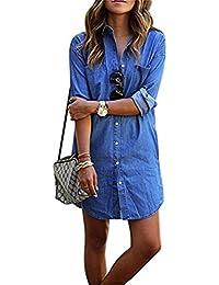 Denim kleid damen, Ruiying Minikleid jeans Jeanskleid damen Lässig Lose  Kurz Hemdblusenkleid Tunika Jeansbluse 423c37072e