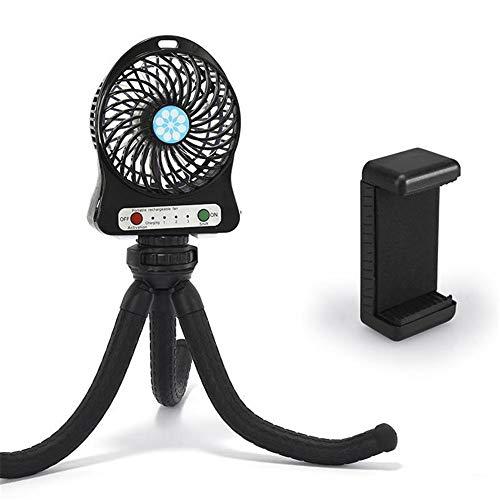 Kinderwagen Fan, persönliche tragbare Baby Fan mit flexiblem Stativ Fix auf Kinderwagen/Studentenbett/Fahrrad, USB oder batteriebetrieben,Black ()