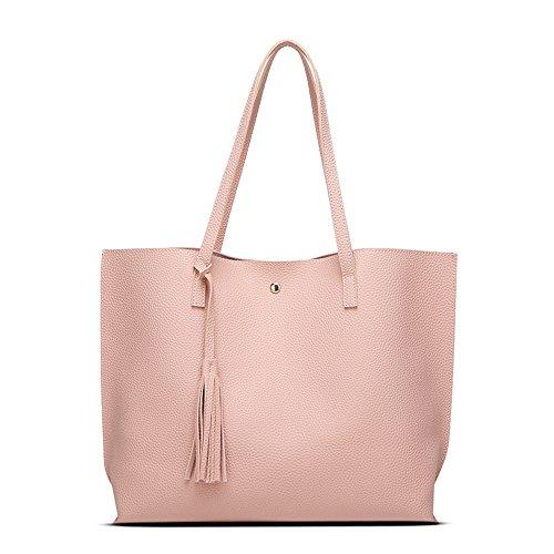 Anne Damen Handtasche, Taschen, legere Handtasche, großes Fassungsvermögen, Damen-Handtaschen, Pink - rose - Größe: L