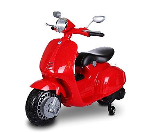 MWS LT 849 Scooter eléctrico para niños PRIMAVERA 12V asiento de cuero (Rojo)