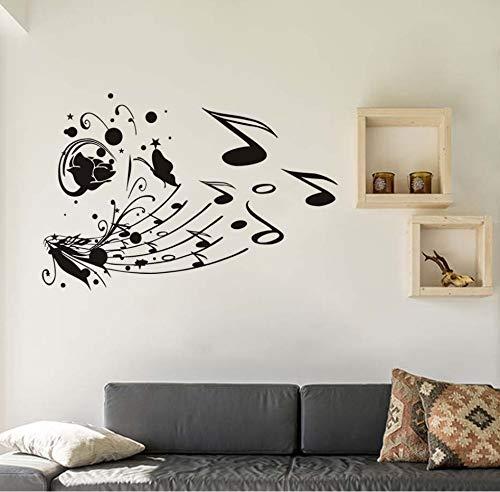 Xlei adesivi murali fiore farfalle note musicali adesivo da parete diy home decor vinile rimovibile musica stickers murali per ragazze scuola classroom87x58cm