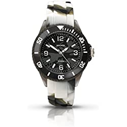 Sekonda Children's Quartz Watch with Black Dial Analogue Display and Grey/White Camouflage Silicone Strap 3392.27