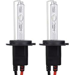 Safego 2 x Ampoules H7 Xenon HID 55W H7 6000K pour voiture Kit Xénon de conversion HID 12V AC